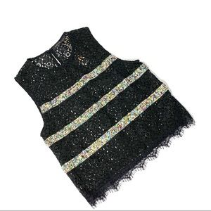 Endless Rose Lace and Sequin Sleeveless Top Sz S